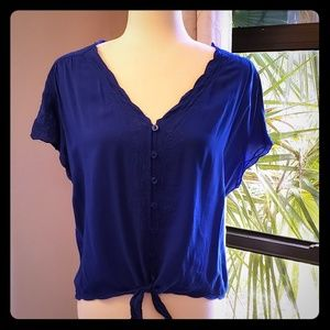 Royal blue top, button down, with waist tie,NEW